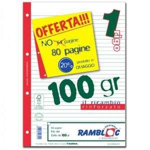 FOGLI A FORI CON RINFORZO LATERALE A4 40fg 100gr 1 Rigo