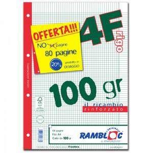 Ricambio Forato c/Rinforzo A4 100gr Quad. 4mm/M