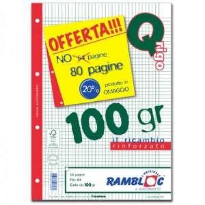 Ricambio Forato c/Rinforzo A4 100gr Quad. 5mm/M