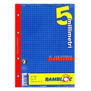 Ricambio Forato c/Rinforzo A5 80gr Quad. 5mm