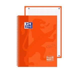 Quaderno c/Spirale 21x30cm 160pag c/Fori Oxford Neon Arancione 5mm
