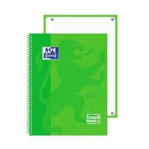 Quaderno c/Spirale 21x30cm 160pag c/Fori Oxford Neon Verde 5mm