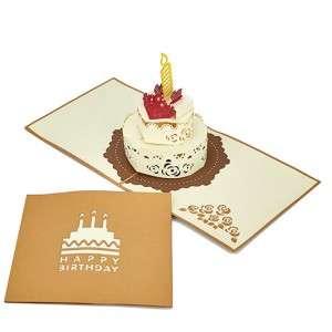Biglietto Compleanno 3D Torta Decorata 15x15cm