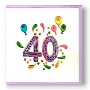 Biglietto Compleanno 40 anni Filigrana 15x15cm