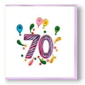 Biglietto Compleanno 70 anni Filigrana 15x15cm