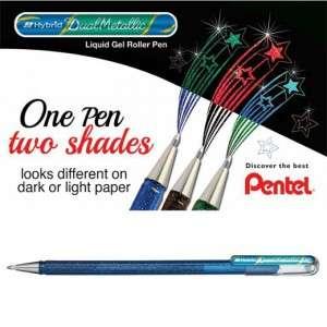 Roller Pentel Hybrid Dual Metallic 1.0mm Blu/Verde