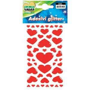 Stickers Gommosi Cuori Glitter Lebez