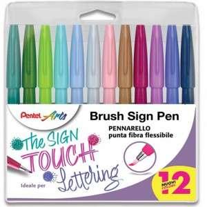 Brush Sign Pen Pentel Set 12pz