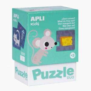 Gioco 3+ Apli Kids Puzzle Duo 24pz Cosa Mangiano?