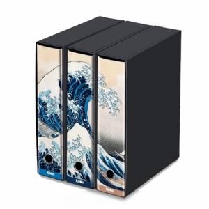 Registratore 2 Anelli 29x35x8cm c/scatola Set 3pz Kaos Hokusai/La Grande Onda