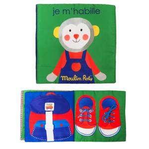 Gioco +18m Libro Attività in Tessuto Moulin Roty Les Popipop Mi Vesto