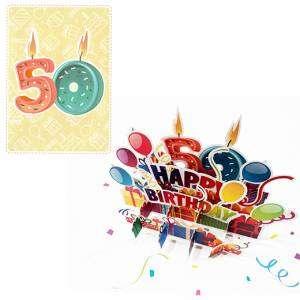 Biglietto Compleanno 50 anni 3D 13x18cm