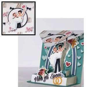 Biglietto Matrimonio Abbracci Arco degli Sposi 12x12cm