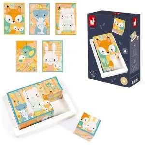 Gioco +12m Janod Puzzle Cubi Animali in Legno 6pz