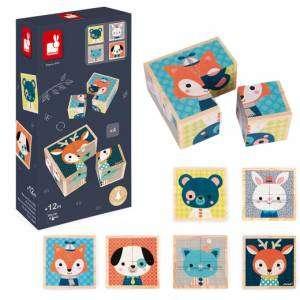 Gioco +12m Janod Puzzle Cubi Animali Foresta in Legno 4pz