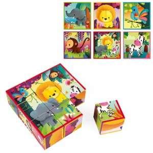 Gioco 2-5+ Janod Puzzle Cubi Animali Giungla 9pz
