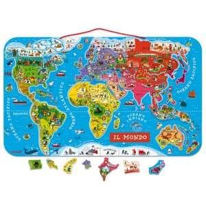 Gioco 7-12+ Janod Mappa Magnetica Mondo in Legno
