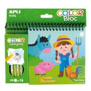 Color Bloc +3 Apli Kids c/Crayons The Farm