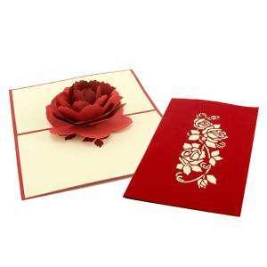 Biglietto 3D Rosa Rossa 10x18cm
