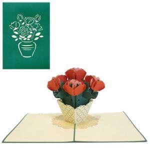 Biglietto 3D Vaso di Fiori 13x18cm