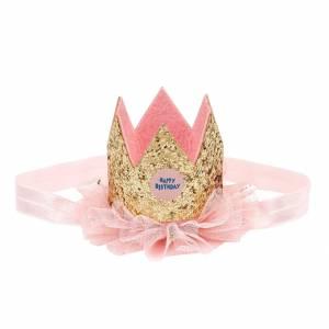 Corona Compleanno Souza con Fascia Elastica Oro con Tulle