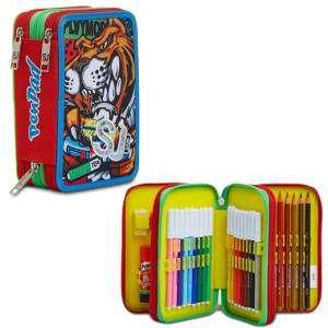 Astuccio 3 Zip Seven Pen-Pad SJ Gang Flame Scarlet