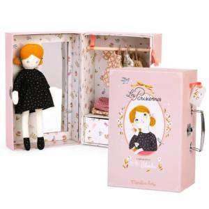 Bambola Moulin Roty con 3 Vestiti + Armadio Valigetta