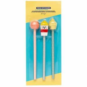 Set 3 Matite c/Gommina Mr. Wonderful - Maracon, PopCorn and Ice Cream