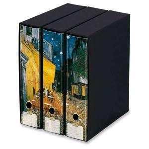 Registratore 2 Anelli 29x35x8cm c/scatola Set 3pz Kaos Van Gogh/Terrazza caffè
