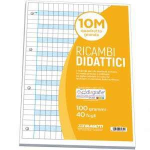 Ricambio Forato Didattico c/Rinforzo A4 100gr Quad. 10mm/M
