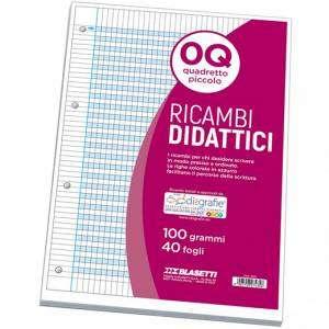 Ricambio Forato Didattico c/Rinforzo A4 100gr Quad. 5mm/M