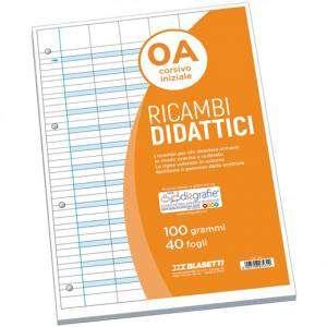 Ricambio Forato Didattico c/Rinforzo A4 100gr Riga A