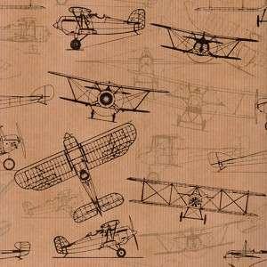Carta Regalo 70x100cm Kraft Vintage Airplane