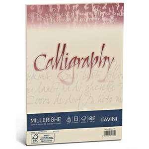 Carta A4 200gr  50fg Favini Calligraphy Millerighe Avorio