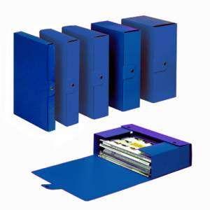 Cartella c/Bottone 25x35x 6cm Presspan Delso Order Blu