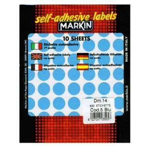 Etichette Adesive Rotonde Diam.14mm 630pz Blu