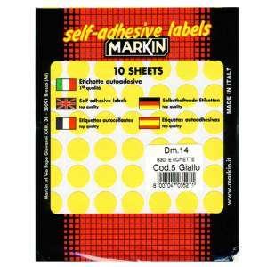 Etichette Adesive Rotonde Diam.14mm 630pz Giallo