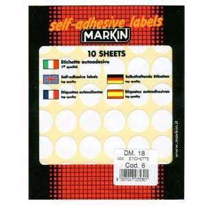 Etichette Adesive Rotonde Diam.18mm 420pz Bianco