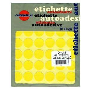 ETICHETTE ADESIVE CARTA ROTONDE DIAM.18mm-420pz-GIALLO