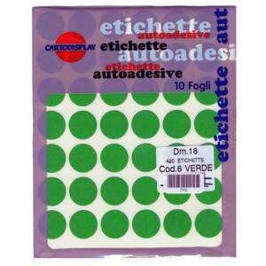 ETICHETTE ADESIVE CARTA ROTONDE DIAM.18mm-420pz-VERDE