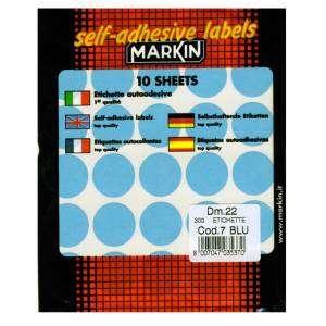 Etichette Adesive Rotonde Diam.22mm 300pz Blu