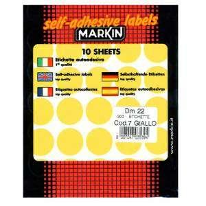 Etichette Adesive Rotonde Diam.22mm 300pz Giallo