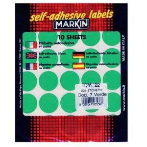 Etichette Adesive Rotonde Diam.22mm 300pz Verde