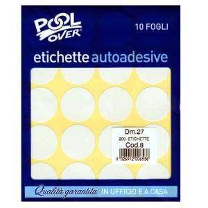 Etichette Adesive Rotonde Diam.27mm 200pz Bianco