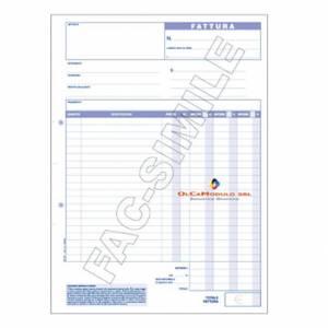 Blocco Fatture IVA 21x30cm 3 Copie Carta Chimica
