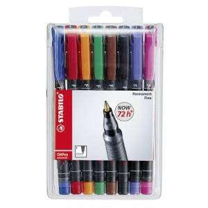 Marcatore Permanente Stabilo OhPen Fine 8 colori