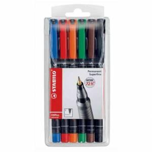 Marcatore Permanente Stabilo OhPen Superfine 6 colori