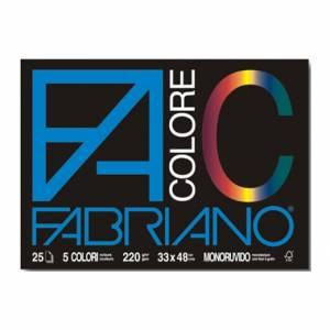 ALBUM FABRIANO COLORE F4 C/ANGOLI 25 FOGLI 33x48cm-5 COLORI ASS.TI