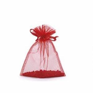Sacchetto Organza c/Tirante 12x17cm 5pz Rosso