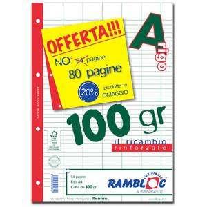 FOGLI A FORI CON RINFORZO LATERALE A4 40fg 100gr Riga A